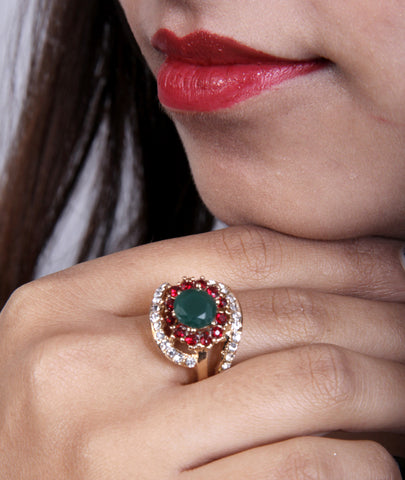 Designer Ad Ring with Emerald and Ruby Stone.