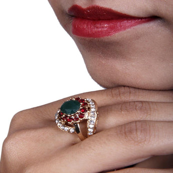 Beautiful Multicolor Carnelian,Emerald and Zircon Ring