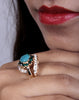 Designer Ad Ring with Blue Stone and Green Zarcon