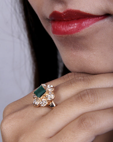 Designer Ad Ring with Emerald Stone ring