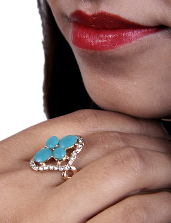 Coctail Designer Ad Ring with Blue Topaz)