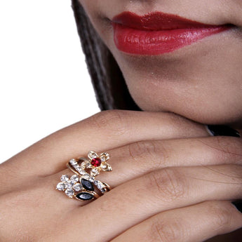 Beautiful Adjustable Multicolor Flower Ring - My Aashis