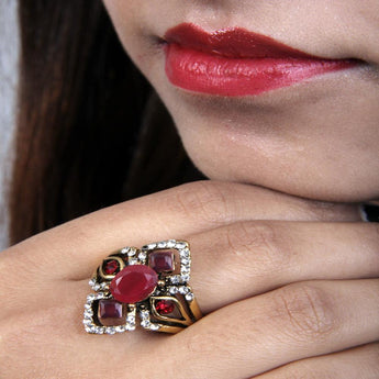 Attractive and Adjustable Multicolor Ruby and Zircon Ring - My Aashis