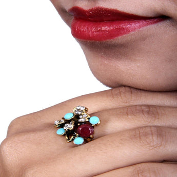 Beautiful Multicolor Ruby Zircon Ring