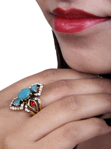 Beautiful Multicolor Ruby Zircon Ring With Blue Stone