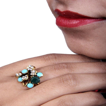 Beautiful Multicolor Emerald, Topaz and Zircon Ring