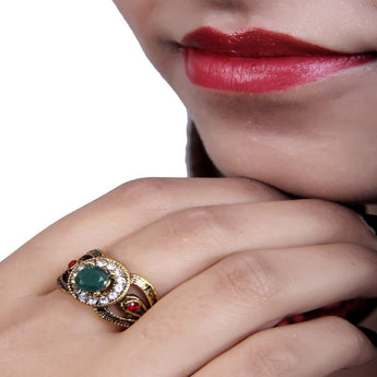 Antique Gold Designer Ring With Emerald and Red Stone - My Aashis