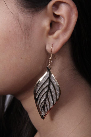 Elegant Leaf Earrings Crystal and Gold Tone Antique Look