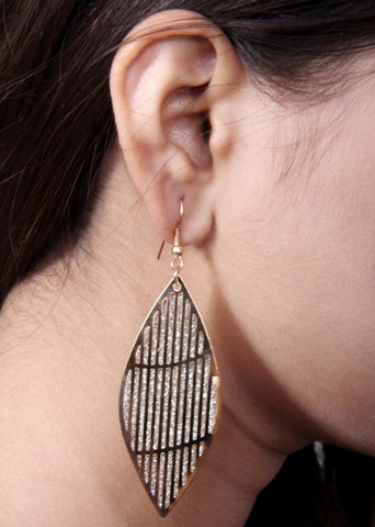 Elegant Lacy Leaf Earrings Crystal and Gold Tone Antique Look