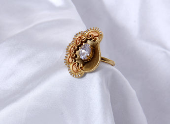 Adjustable Matt Gold Tone Cocktail  Fashionable Rings For Women