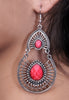Women's Antique Inlaid Round Pink Earrings