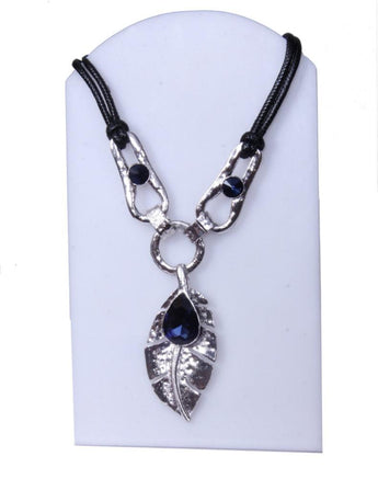 Glowing and Charming Leaf Necklace with Blue Stone - My Aashis