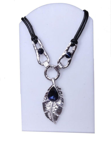 Black and Blue Charmed Leaf Necklace with Blue Stone