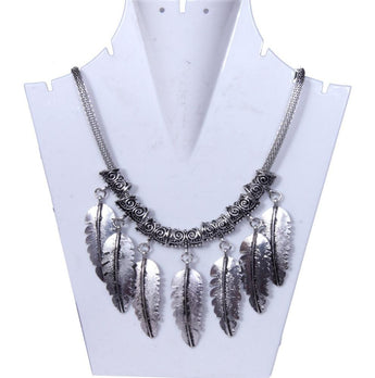 Antique Silver-Toned Necklace With Multiple Dangler