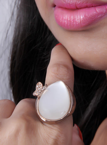 Rose Gold White Colored Oval Shaped Stone Accessory Ring