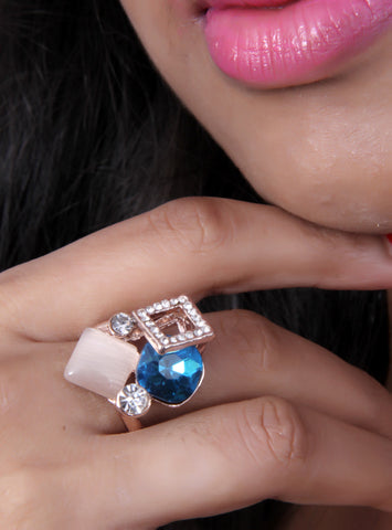 Ethnic Rose gold plated ring adorn with druzy stones - My Aashis