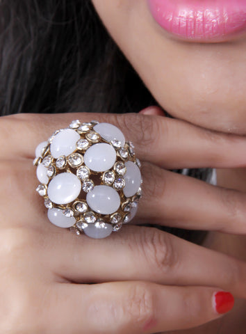 Designer Ad Ring with Druzy Stone