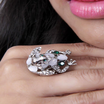 Adjustable Frog Shaped Silver Stoned Ring - My Aashis