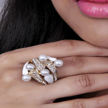 Adjustable Cocktail Druzy and Pearl Stone Ring - My Aashis