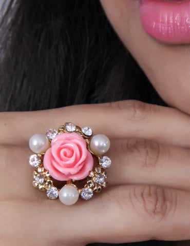 Gold-Toned & Pink Rose Ring