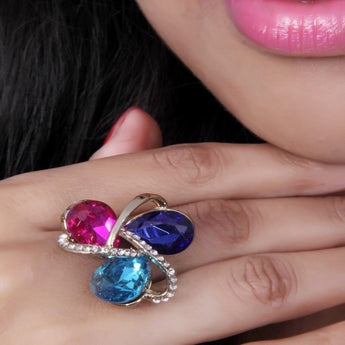 Beautiful Multicolor Three Stones Zircon Ring - My Aashis