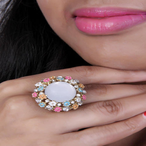An absolutely spectacular Adjustable Multicolor Flower Ring With White Stone