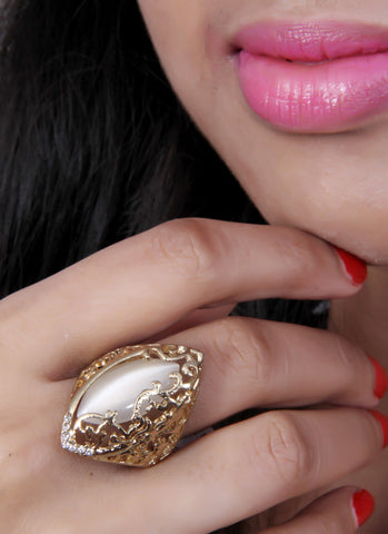 Gold -Tone Oval Shape Coctail Ring