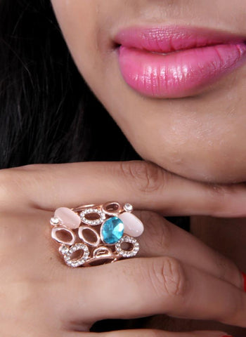 Beautiful Rose Gold Ring With Glass Stones - My Aashis