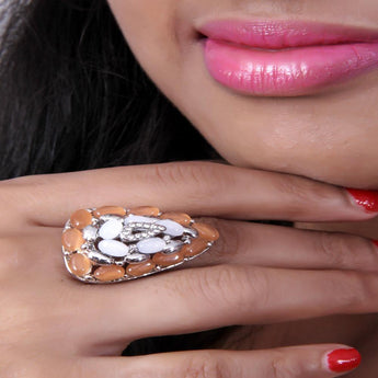 Adjustable Multicolor Beautiful Stoned Zircon Ring - My Aashis