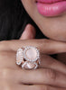 Luxury Coctail Druzy Gem Crystal Ring Rose Gold Plated Ring Star Lady/Girl Adjustable Ring