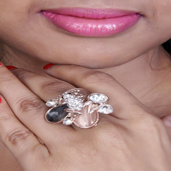 Adjustable and Trendy Cocktail Druzy and Zircon Stone Ring - My Aashis