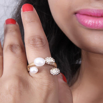 Adjustable Modern Classic Rose Gold Plated Stone With Pearl Ring - My Aashis