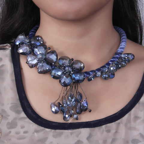Black Toned Floral Necklace with Blue Stone Flowers and Multiple Danglers