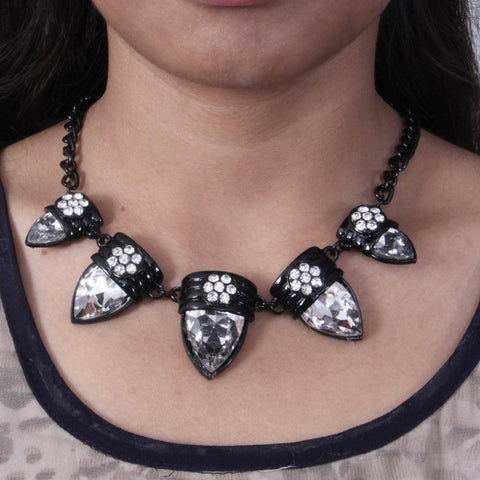 Vintage Style Black Crystal Necklace - My Aashis