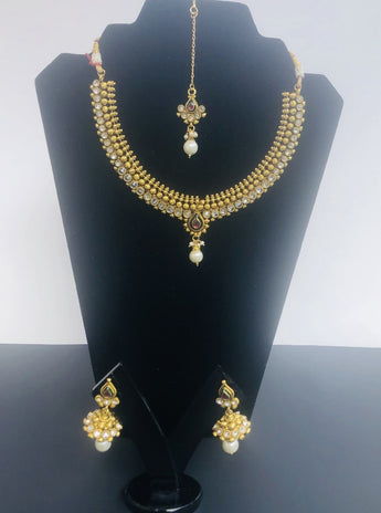 Gold-Plated Cubic Zirconia Pendant Indian Necklace and Earrings with tika Jewelry Set - My Aashis