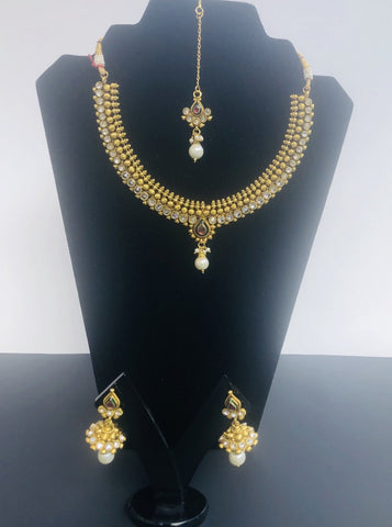 Gold-Plated Cubic Zirconia Pendant Indian Necklace and Earrings with tika Jewelry Set