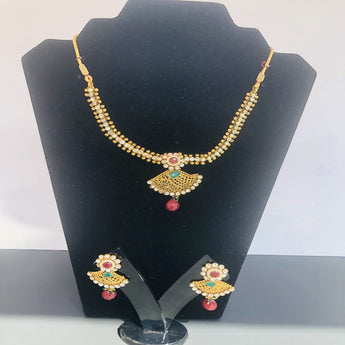 Spectacular Gold Plated Traditional Necklace Set - My Aashis