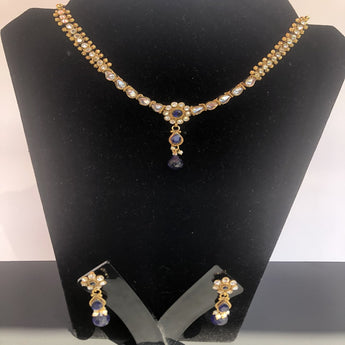 High Quality Gold Plated Kundan Necklace Set - My Aashis