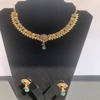 Oxidized Gold Plated Necklace Set - My Aashis