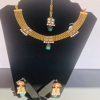 Gold-Plated Cubic Zirconia Pendant Indian Necklace and Earrings Jewelry Set - My Aashis