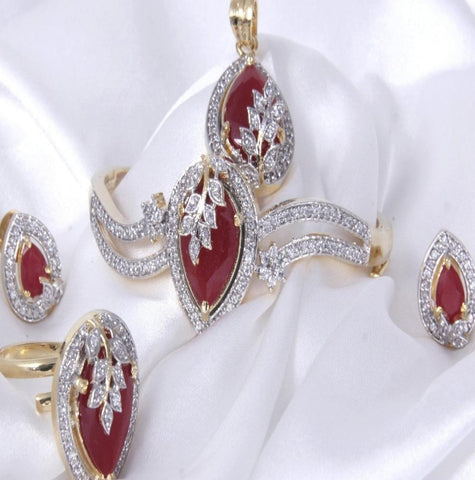 Women's Ruby Look Gold  Pendant Set With Bracelet ,Earrings And Ring