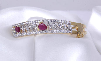 Affinity Red Broad Ruby Studded American Diamond Bracelet - My Aashis