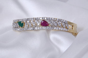 Affinity Glittering American Diamond AD stones Bangle Kada Gold Plated - My Aashis
