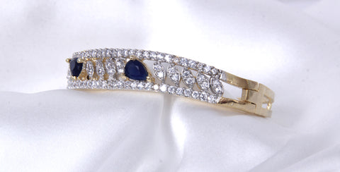 American Diamond sleek and beautiful Bracelet with Black stones at top - My Aashis