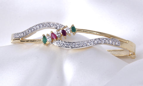 Gold-Toned Multi-Color CZ Stone-Studded Bracelet - My Aashis