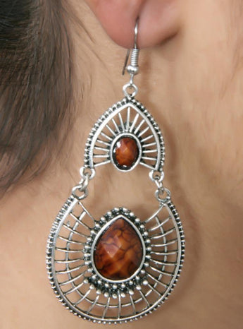 Antique Silver Created Brown Fire Opal Teardrop Earrings with Secure Wire and Hook Backs - My Aashis