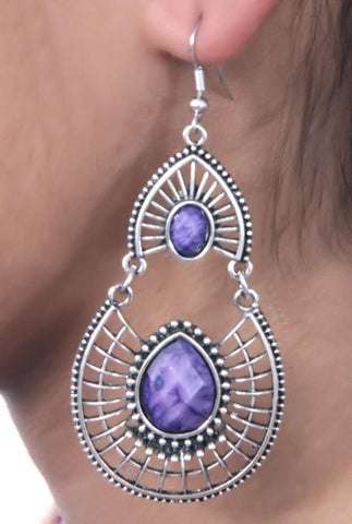 Antique Silver Created Purple Fire Opal Teardrop Earrings with Secure Wire and Hook Backs