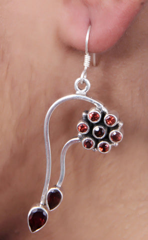 Oxidized Pure Silver Red Garnet Dangle Earrings