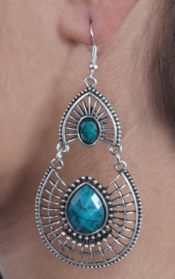 Antique Silver Created Blue Fire Opal Teardrop Earrings with Secure Wire and Hook Backs - My Aashis
