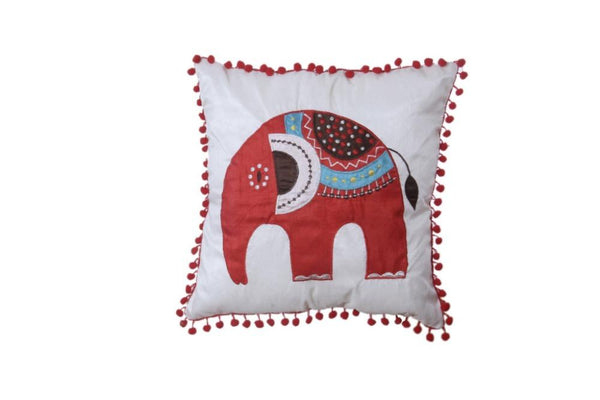 Set Of 5 Silk Cushion Cover with Elephant Pattern